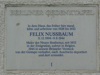 Gedenktafel für Felix Nussbaum, 4.2.2010, Foto: KHMM Bild: Bezirksamt